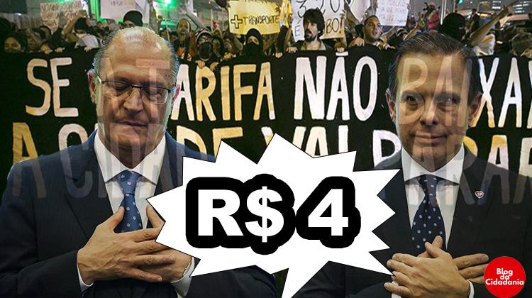 Joao Dória e Geraldo Alckmin aumentarão ônibus e metrô para R$ 4. Vai ter protesto?