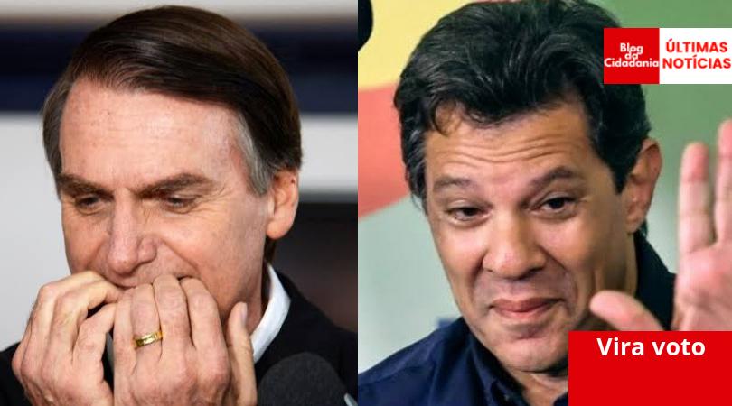 Resultado de imagem para Datafolha: Haddad sobe e diferença para Bolsonaro cai cinco pontos nos votos totais